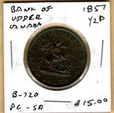 Bank of Upper Canada: 1857 Half Penny #4e