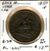 Bank of Upper Canada: 1850 Penny #5b No Dot