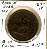 Bank of Upper Canada: 1850 Penny #6a