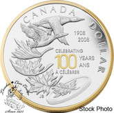 Canada: 2008 $1 Celebrating the Royal Canadian Mint Centennial Proof Gold Plated Silver Dollar Coin