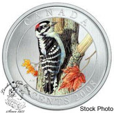 Canada: 2008 25 Cents Downy Woodpecker Coloured Coin