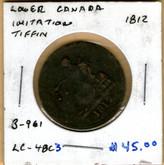 Lower Canada: 1812 Halfpenny B-961 LC-48C3 Imitation Tiffin