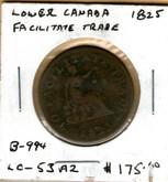 "Lower Canada: 1825 Halfpenny ""To Faciliate Trade"" B-994 LC-53A2"