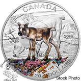 Canada: 2016 $20 Baby Animals Caribou Silver Coin