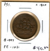 P.E.I: 1820 Halfpenny B-997, PE-10-31 #3
