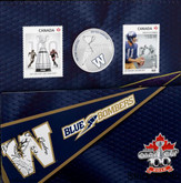 Canada: 2012 25 Cents The Winnipeg Blue Bombers Coloured Coin & Stamp Set