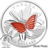 Canada: 2016 $20 The Colourful Wings of a Butterfly Silver Coin