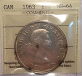 Canada: 1963 $1 ICCS MS64