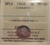 Canada: Newfoundland: 1940C 5 Cents ICCS MS60