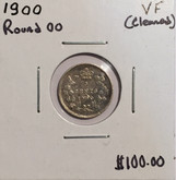 Canada: 1900 5 Cent Round 00 VF20 Cleaned
