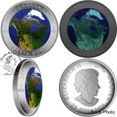 Canada: 2017 $25 View of Canada from Space Glow in Dark Concave Silver Coin
