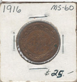 Canada: 1916 1 Cent MS60