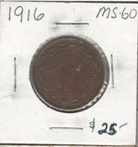 Canada: 1916 1 Cent MS60 Lot#2