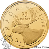 Canada: 2010 25 Cent Caribou Gold Coin