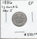 Canada: 1886 10 Cents Large Knob 6 Obv5 EF Cleaned