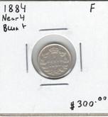 Canada: 1884 5 Cents Near 4 Blunt 4 F