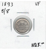 Canada: 1893 5 Cents 8/8 VF