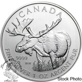 Canada: 2012 $5 Moose 1 oz  Pure Silver Coin (Milk Spots / Toned)