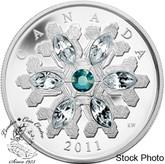 Canada: 2011 $20 Emerald Crystal Snowflake Silver Coin