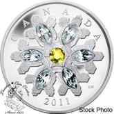 Canada: 2011 $20 Crystal Topaz Silver Coin