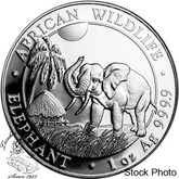 Somalia: 2017 100 Shillings African Elephant 1oz Silver Coin