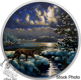 Canada: 2017 $30 Animals in The Moonlight - Cougar Glow In Dark Silver Coin