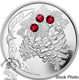 Canada: 2010 $20 Ruby Holiday Pine Cones Silver Coin