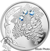 Canada: 2010 $20 Moonlight Holiday Pine Cones Silver Coin