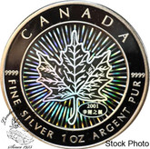 Canada: 2001 $5 Hologram Silver Maple Leaf Coin