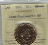 Canada: 2005 $1 Loonie Loon ICCS MS66 Num. BU