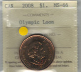 Canada: 2008 $1 Loonie Olympic Loon Dance ICCS MS66