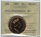 Canada: 1992 $1 Loonie Confederation ICCS MS66