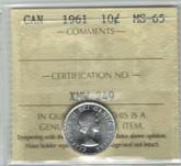 Canada: 1961 10 Cent ICCS MS65