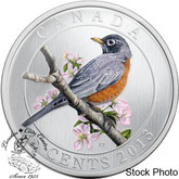 Canada: 2013 25 Cents American Robin Coloured Coin