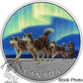 Canada: 2017 $10 Dog Sledding Under the Northern Lights Silver Coin