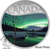 Canada: 2017 $10 Celebrating Canada's 150th - Aurora Borealis at McIntyre Creek Silver Coin