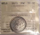 Canada: Newfoundland 1873 20 Cents ICCS VF30