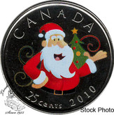 Canada: 2010 25 Cent Coloured Santa Proof Like