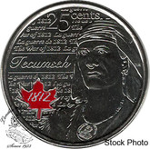 Canada: 2012 25 Cent Tecumseh Coloured BU