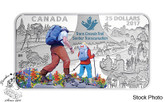 Canada: 2017 $25 The Great Trail - 1.5 oz. Pure Silver Coloured Rectangular Coin