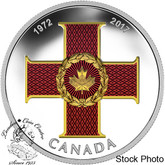 Canada: 2017 $20 Canadian Honours Collection: 45th Anniversary of The Cross of Valour - 1 oz. Pure Silver Coloured Coin