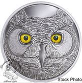 Canada: 2017 $15 In The Eyes Of The Great Horned Owl Glow In Dark Silver Coin