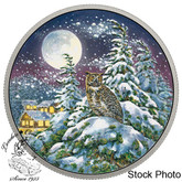 Canada: 2017 $30 Animals in the Moonlight: Great Horned Owl 2 oz. Pure Silver Glow In The Dark Coin