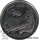Canada: 1999 25 Cent October BU