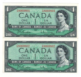 Canada: 1954 $1 F/N (2 Notes in Sequence)