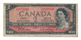 Canada: 1954 $2 G/R Banknote