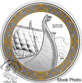 Canada: 2018 $20 Norse Figureheads: Dragon's Sail. 1 oz. Pure Silver Coloured Coin