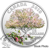 Canada: 2018 $15 Celebration of Spring: Apple Blossoms - Pure Silver Coin