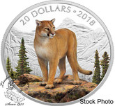 Canada: 2018 $20 Majestic Wildlife: Courageous Cougar - 1 oz. Pure Silver Coloured Coin