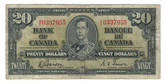 Canada: 1937 $20 Bank Of Canada H/E 0337955